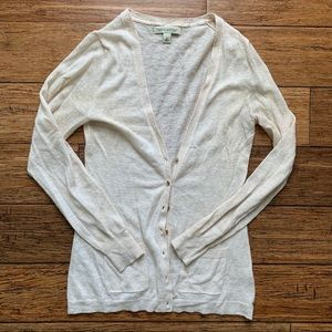 Cream V Neck Gold Button Cardigan